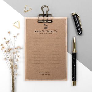 Music Lover Gift To Do Lists On Mini Clipboard