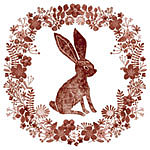Lino print rabbit with pretty flowers and foliage