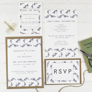 Botanical Fauna Drangonfly Wedding Stationery Set