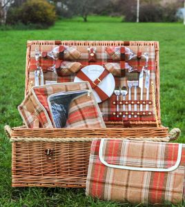 Personalised Amber Tartan Hamper For Four - winter sale