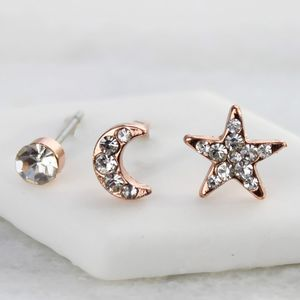 Sun, Moon And Star Rose Gold Earrings