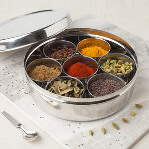 Indian Masala Dabba Spice Tin With Spices - kitchen