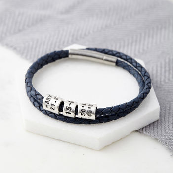 Personalised Silver Bead Leather Wrap Bracelet