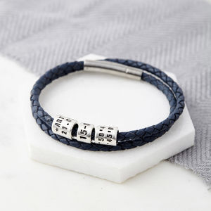 Personalised Silver Bead Leather Wrap Bracelet - bracelets