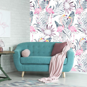 Flamingo Tropical Self Adhesive Removable Wallpaper - children's room