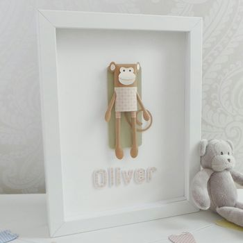 Personalised Framed 3D Paper Monkey