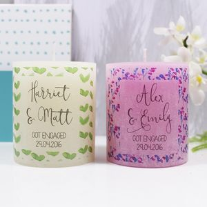 Personalised Engagement Patterned Coloured Candle - engagement gifts