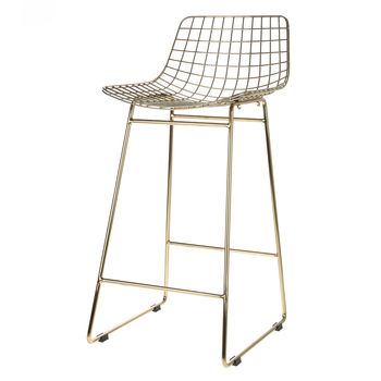 Bar Stool, Metal Mesh Counter Height Bar Stool
