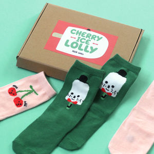 Cheery Ice Lolly Kids Baby Knee High Socks Gift Set - children's socks