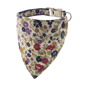 Multicoloured Botanical Bandana Dog Collar