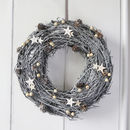 Greywashed Wreath With Stars
