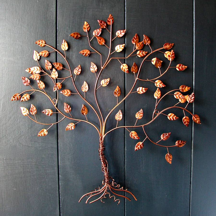 Copper wire tree of life wall art by london garden trading for Wire wall art