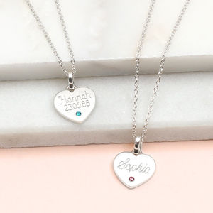 Personalised Sterling Silver Birthstone Heart Necklace