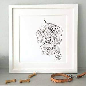 Contemporary Typed Dachshund Dog Print - brand new partners