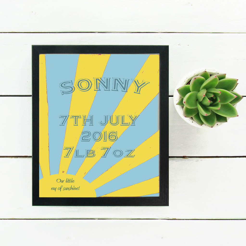 Personalised New Baby Sunburst Print