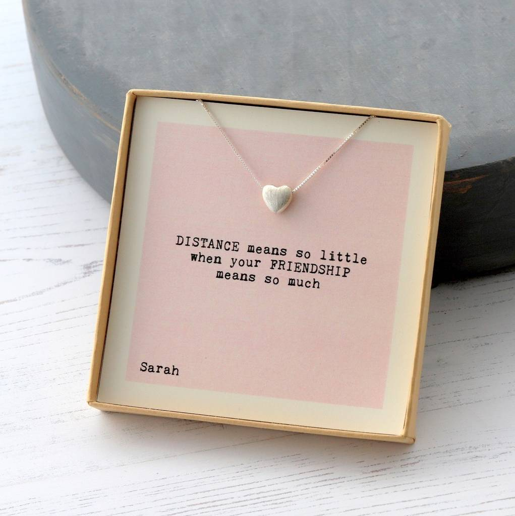 Distance means so little friendship heart necklace by for Best friend anniversary gift ideas