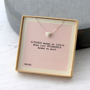 Distance Means So Little Friendship Heart Necklace - necklaces & pendants