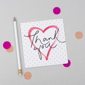 'Thank You' Polka Dot Calligraphy Card