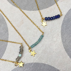 Gold Star And Gemstone Friendship Necklace