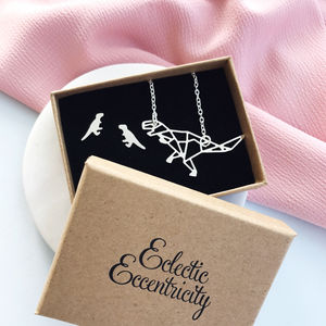 T Rex Dinosaur Necklace And Earrings Gift Set - necklaces & pendants
