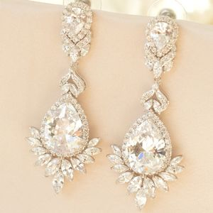 Glamorous Crystal Bridal Earrings - earrings