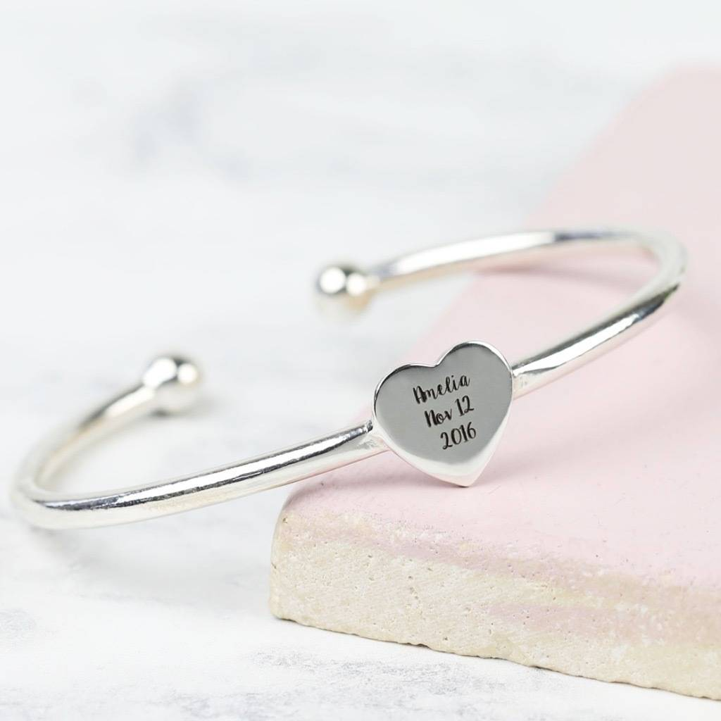 9b13d73bac91a Personalised Sterling Silver Heart Bangle