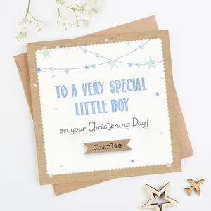 Personalised Blue Christening Day Card