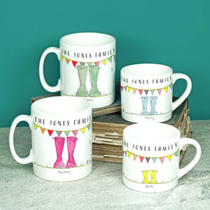 Personalised Set Of Welly Boot Family Mugs - gifts for her