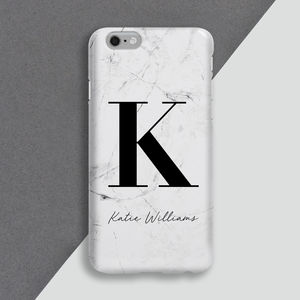 Personalised Large Initial Marble Phone Case