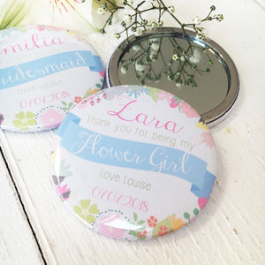 Summer Flower 'Thank You' Or 'Be My Bridesmaid' Mirror - compact mirrors