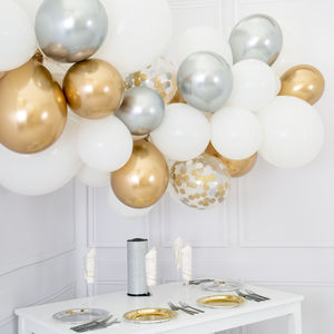 White, Silver And Gold Balloon Cloud Kit
