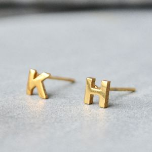 Little Letter Alphabet Earrings 18ct Gold - earrings