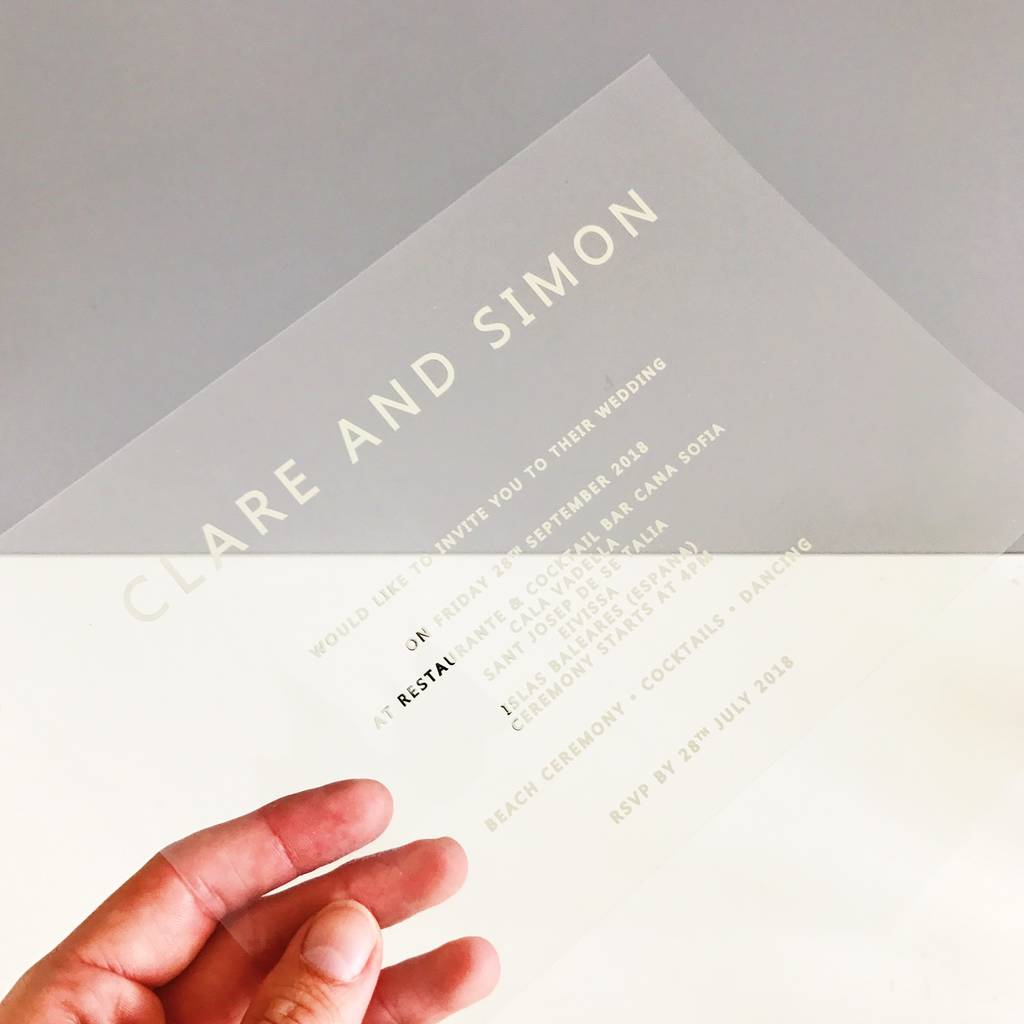clear and silver foiled acetate wedding invitation by made with love
