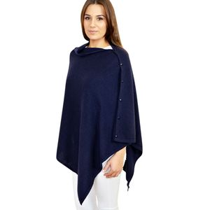Classic Cashmere Poncho Button Wrap In Gift Box
