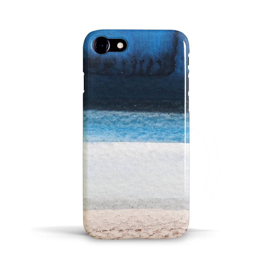 Ocean beach phone case design in blue white and brown by for Design a case