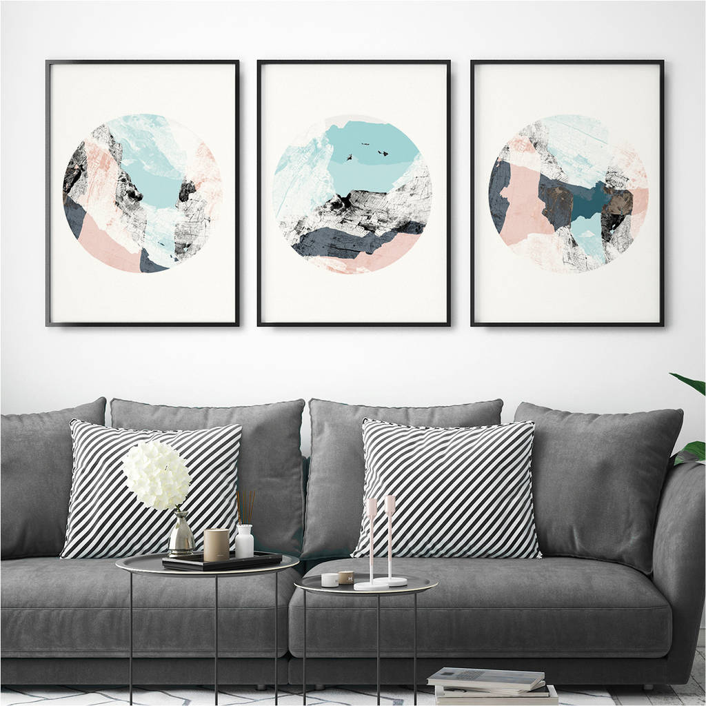 set of three abstract wall art prints by bronagh kennedy art prints. Black Bedroom Furniture Sets. Home Design Ideas