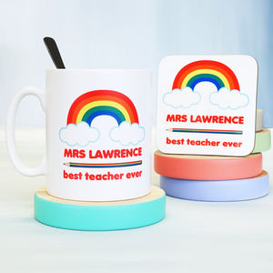 Personalised Rainbow Teacher Mug - new in home
