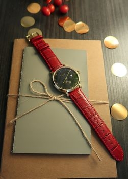 'Richmond' Hot Red, Black And Gold Watch