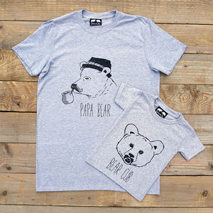 Papa Bear And Bear Cub T Shirt Set Father's Day Gift - for dad & me