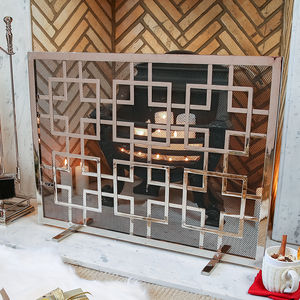 Mirror Finish Aztec Style Footed Fire Screen - home accessories