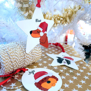 Personalised Dog Christmas Decoration Santa