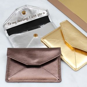 Personalised Leather Metallic Card Holder Or Coin Purse