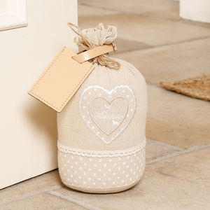 Personalised Bonheur Heart Cream Country Door Stop - door stops