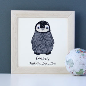 Personalised Baby Penguin Embroidered Art