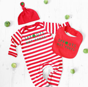 'Sprouts Not Pouts' Romper, Bib And Knot Hat Set - children's christmas clothing