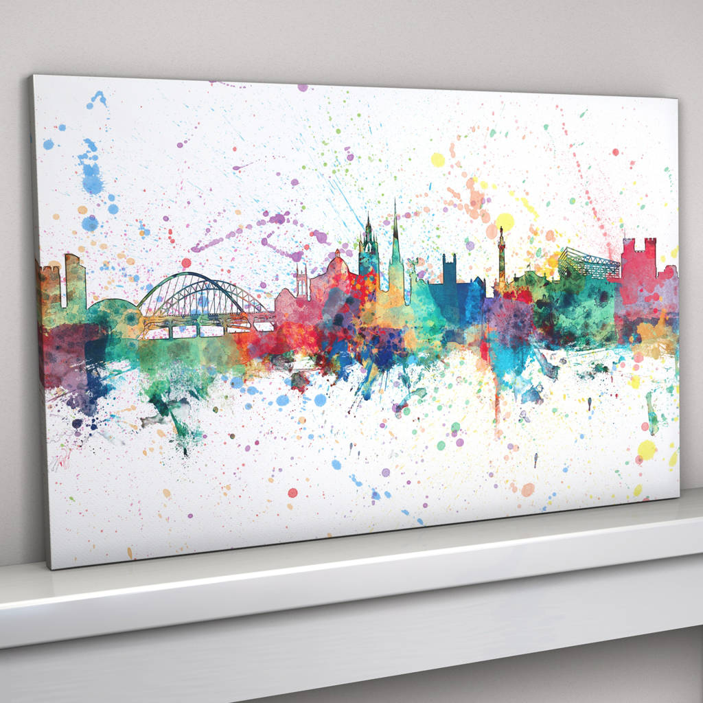 Newcastle skyline cityscape paint splashes print by for Best canvas painting designs