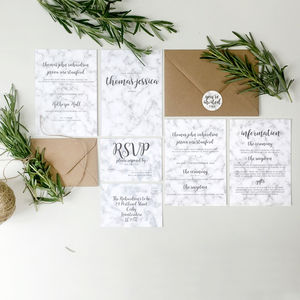 Marble Wedding Invitation Stationery With Stickers - wedding stationery