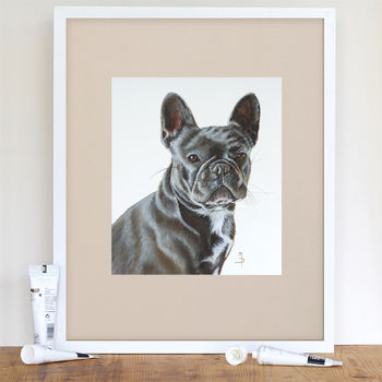 Blue French Bulldog Giclée Print Signed And Mounted