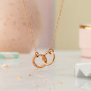 Personalised Double Hoop Name Necklace in 9ct Rose Gold plate on a standard trace chain