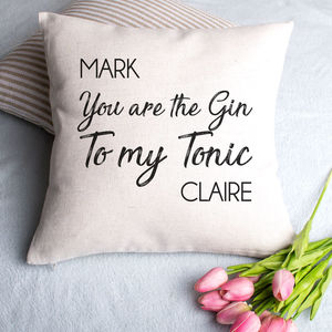 Personalised Gin And Tonic Cushion Cover - 2nd anniversary: cotton